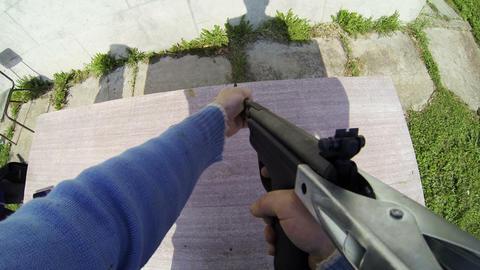 Shot from a pneumatic gun Footage