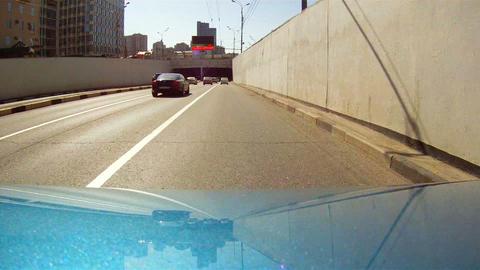 Journey under the ferroconcrete bridge Stock Video Footage