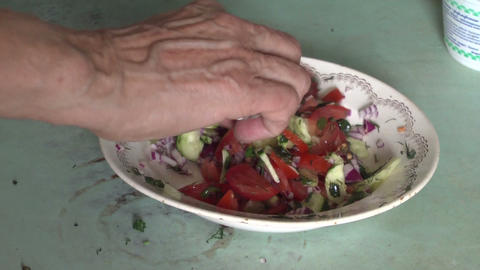 Salad of tomatoes, cucumbers and onions Stock Video Footage