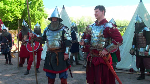 Medieval warriors in armor and chain mail Stock Video Footage
