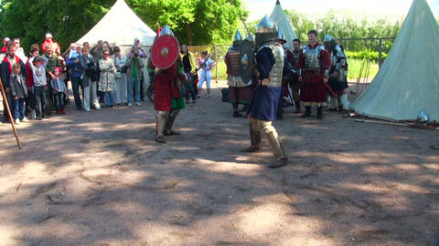 Battle of medieval warriors Stock Video Footage