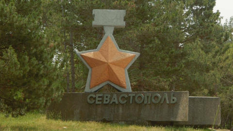 Sevastopol. Entry sign on the highway Stock Video Footage
