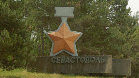 Sevastopol. Entry sign on the highway Footage