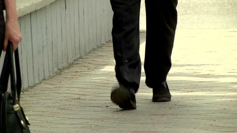 Mens feet in Slippers on the street Footage
