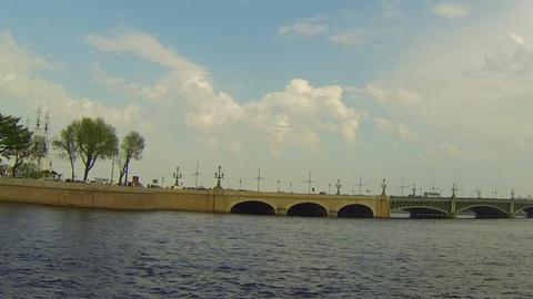 Troitsky bridge in St. Petersburg Stock Video Footage
