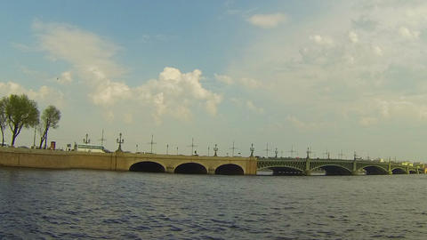 Troitsky bridge in St. Petersburg Footage