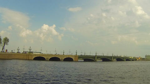 Troitsky bridge in St. Petersburg Stock Video Footage