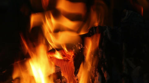 fire in fireplace, natural abstract background Stock Video Footage