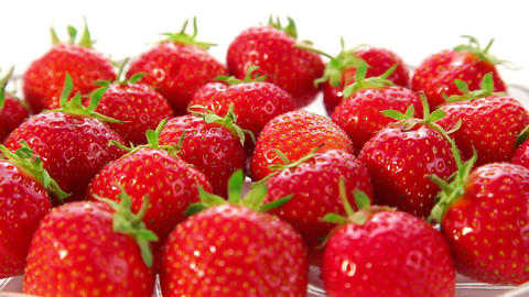 strawberries on white background - dolly shot Footage