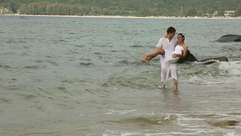 Couple in the ocean Stock Video Footage