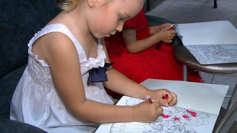 Little girls draw Footage