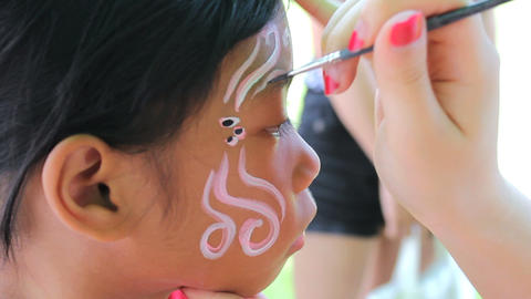 Face Painting Details On Little Girl Footage
