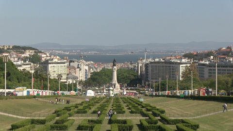 Downtown Lisbon, Portugal Stock Video Footage