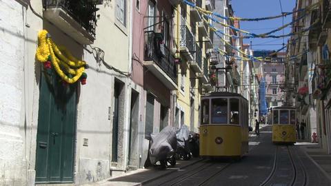 Trams in Lisbon Stock Video Footage