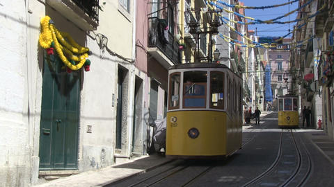 Trams in Lisbon Stock Video Footage