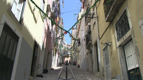Alley in Lisbon Stock Video Footage