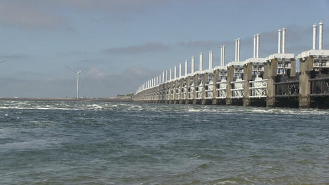 Storm Surge barrier Stock Video Footage