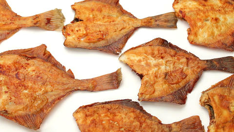 flounder fish fried on frying pan Footage