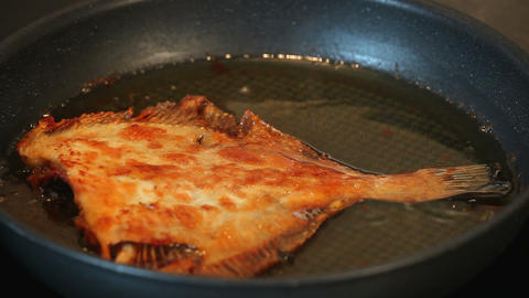 flounder fish fry on pan, tasty and healthy fish Stock Video Footage