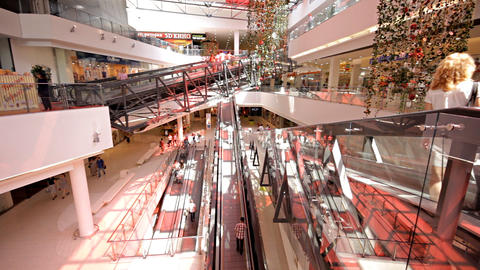 escalator in shopping center Stock Video Footage