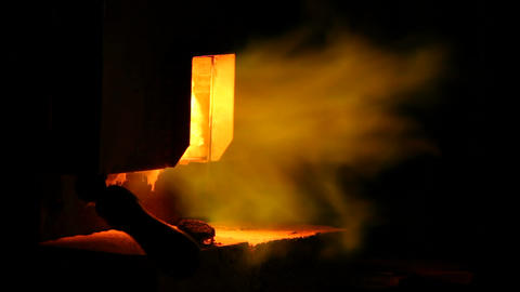Flames from a furnace Stock Video Footage