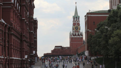 Moscow Kremlin and Lenin Mausoleum Stock Video Footage