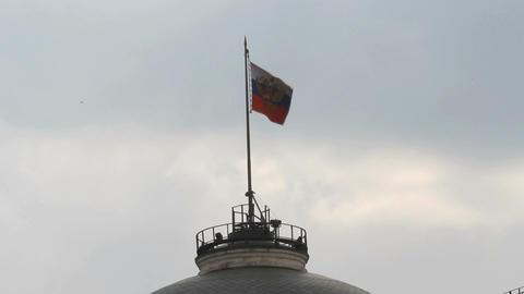 Russian Federation Flag Over Kremlin Stock Video Footage