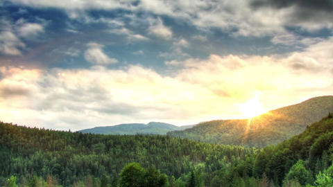 Sunset in mountains time lapse Stock Video Footage