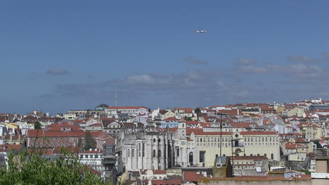 Lisbon, Portugal and plane Stock Video Footage