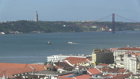 Lisbon with the Tagus Stock Video Footage