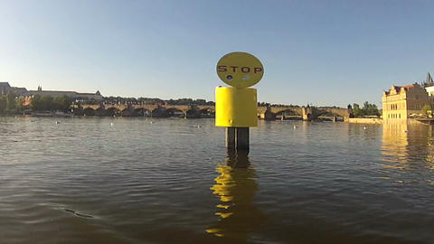 Pedalo view of Vltava river Stock Video Footage