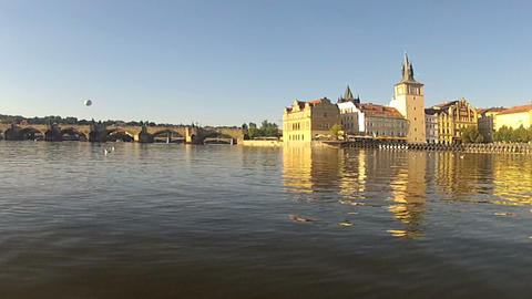 Pedalo view of Vltava river Footage
