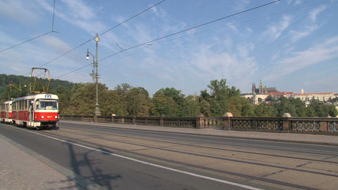 Tram passing by the Legion Bridge Stock Video Footage