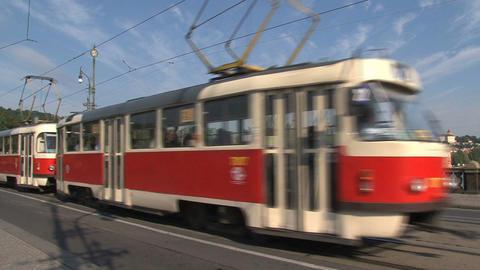 Tram passing by the Legion Bridge Stock Video Footage