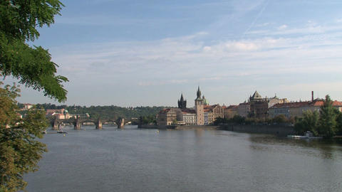 View of the Charles Bridge Stock Video Footage