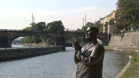 The statue of Harmony, Prague Stock Video Footage
