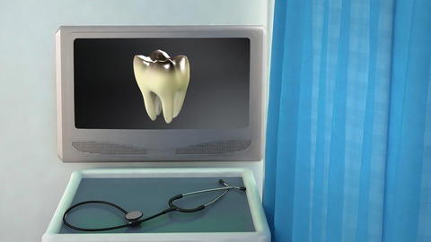 bad tooth to white tooth medical screen closeup Stock Video Footage