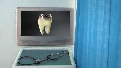 bad tooth to white tooth medical screen closeup Animation