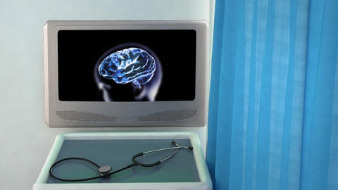 blue brain zoom into cell medical screen closeup Stock Video Footage