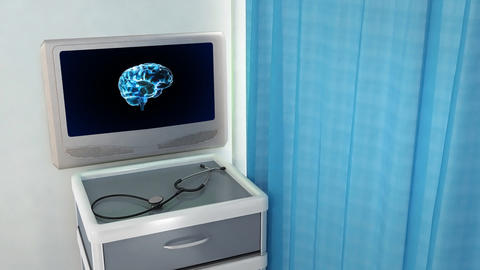 brain rotate medical screen Stock Video Footage