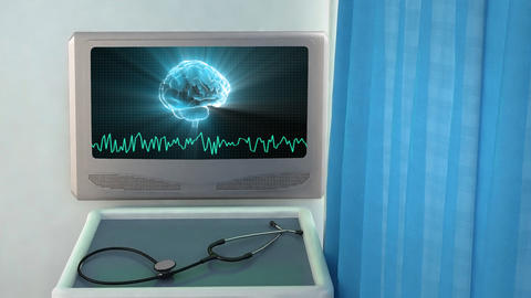 brain with wave medical screen closeup Stock Video Footage