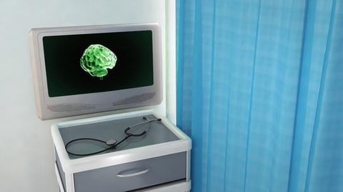 Green Brain Rotate Medical Screen stock footage