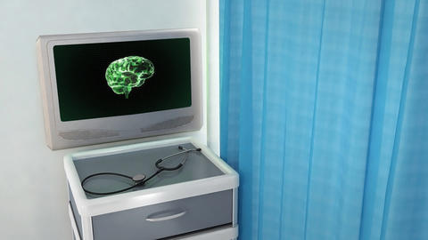 green brain rotate medical screen Stock Video Footage