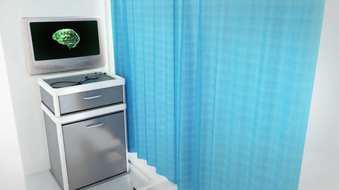 green brain rotate medical screen wide Stock Video Footage