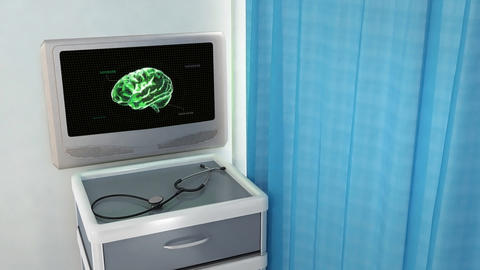 green brain with code medical screen Animation