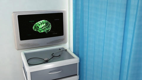green brain with code medical screen Stock Video Footage
