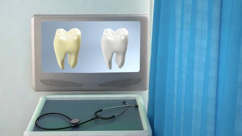 tooth compare medical screen closeup Animation