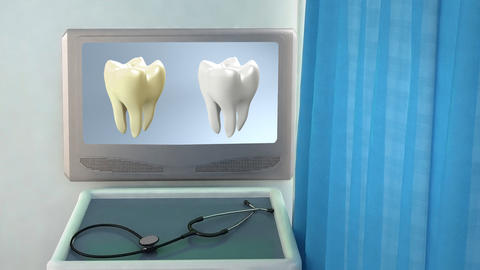 tooth compare medical screen closeup Stock Video Footage