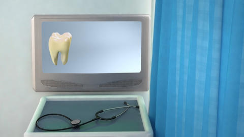 tooth step be white medical screen closeup Stock Video Footage