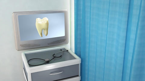 yellow tooth to white tooth medical screen Stock Video Footage